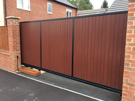 wood effect composite gates designed, built and fitted by derby company